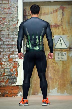 Рашгард мужской с длинным рукавом + Totalfit RM316 XXL Черный с зеленым, фото 2