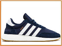 Мужские кроссовки Adidas Iniki Runner Boost Dark Blue White (адидас иники, синие / белые)