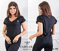 Красивая женская кофточка футболка блузка с брошью чёрная 42-44 44-46 48-50 50-52, фото 1
