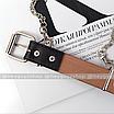 Ремень с цепью женский эко-кожаный с заклепками дырками черный унисекс ретро, фото 5