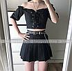 Ремень с цепью женский эко-кожаный с заклепками дырками черный унисекс ретро, фото 7