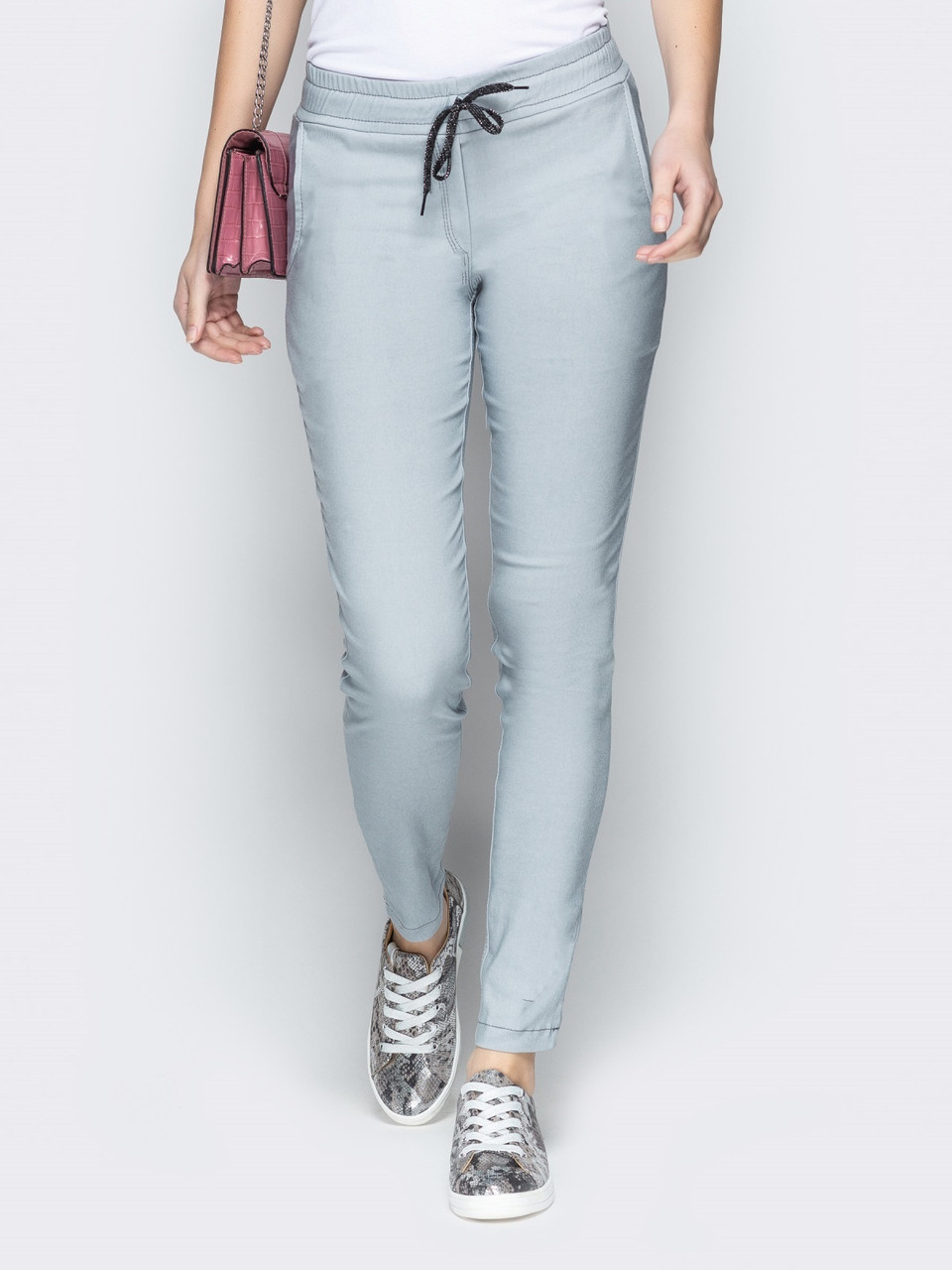dc1bd29dda99 Зауженные женские брюки серого цвета со средней посадкой р.42,44,46,48,50:  продажа, цена ...
