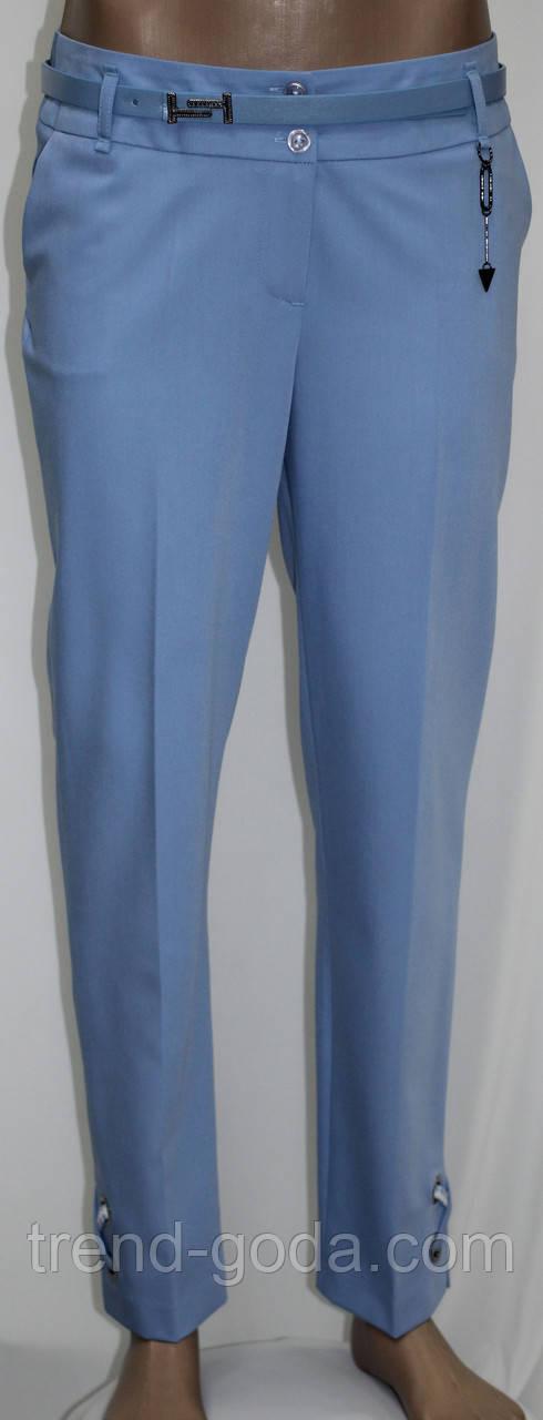 Брюки женские классические прямые, с пояском, голубые, Турция