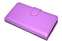 Кожаный чехол книжка для LG Leon Y50 H324 фиолетовый, фото 1