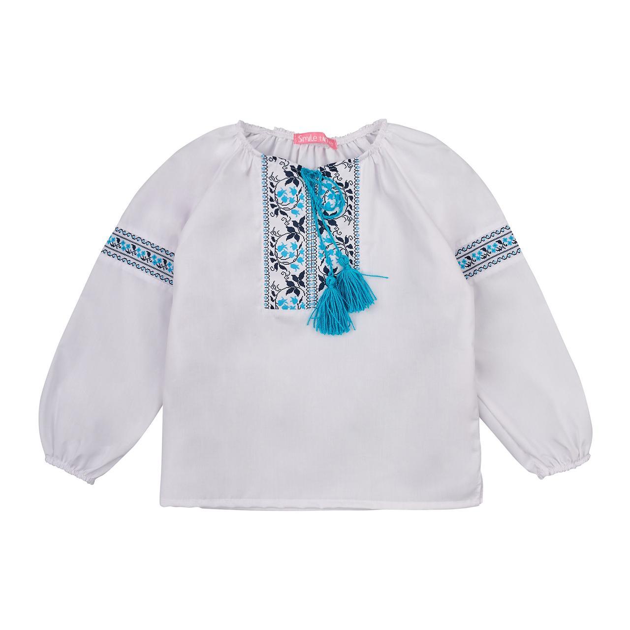 Вышиванка для девочки с длинным рукавом SmileTime 100% хлопок голубой узор