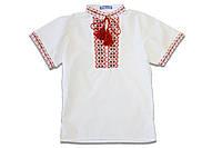 Вышиванка для мальчика с коротким рукавом р.122,128,134,140,146 SmileTime, красный узор