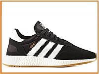 Мужские кроссовки Adidas Iniki Runner Boost Black White (адидас иники, черные / белые)