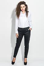 Штаны, брюки женские зауженные, с подворотами 64PD48 (Темно-серый,елочка )