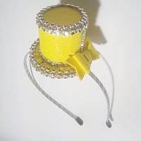 Обруч со шляпкой, желтый