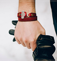"""Кожаный браслет""""ТорНадо"""" с молотом Тора .Скандинавский Мьельнир."""