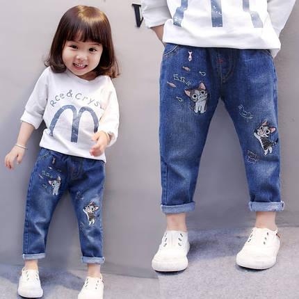 Джинсы для девочку  синие весна-осень Котики 4-6 лет, фото 2