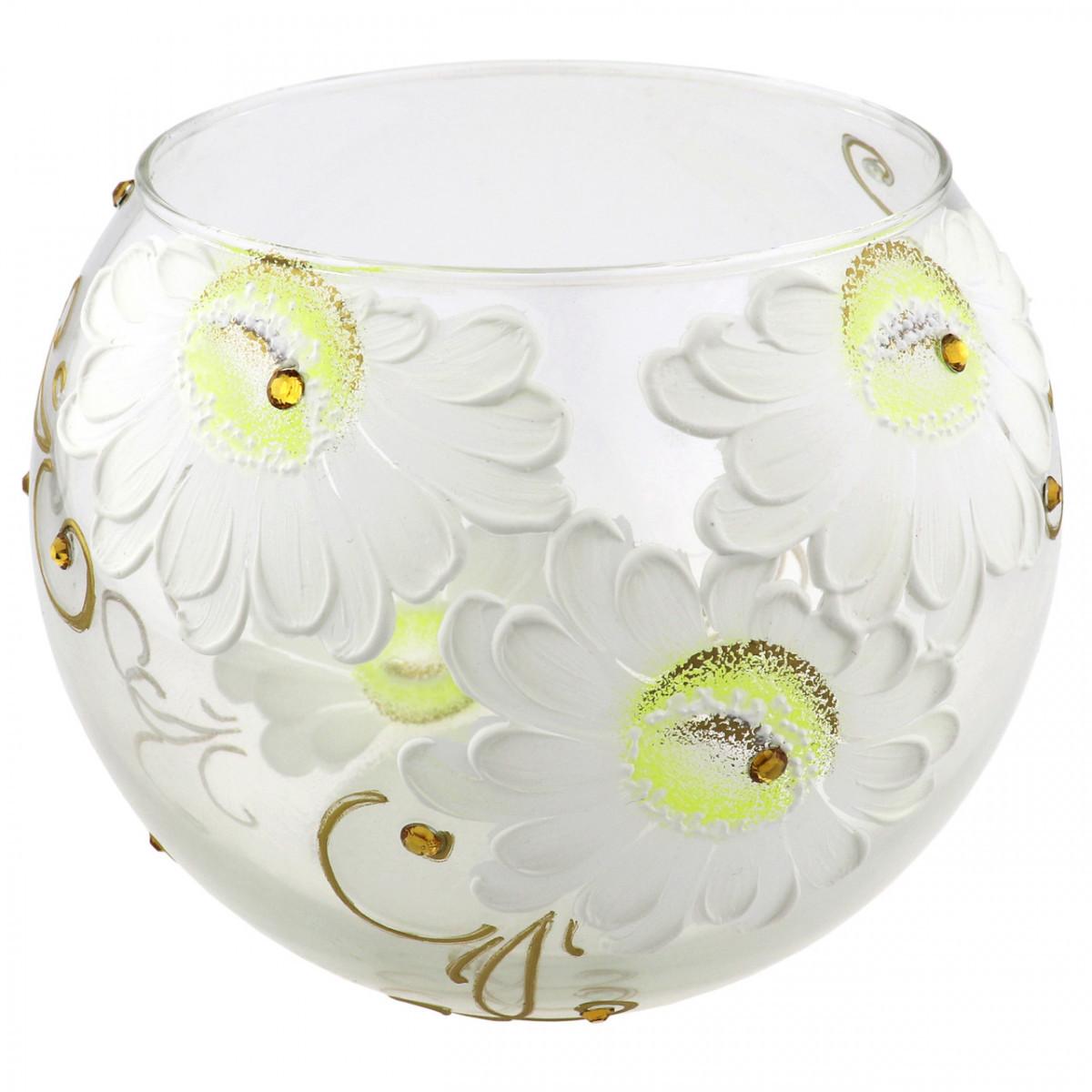 Ваза стеклянная ручной работы Белые цветы (Шарик большой) ZA-1200