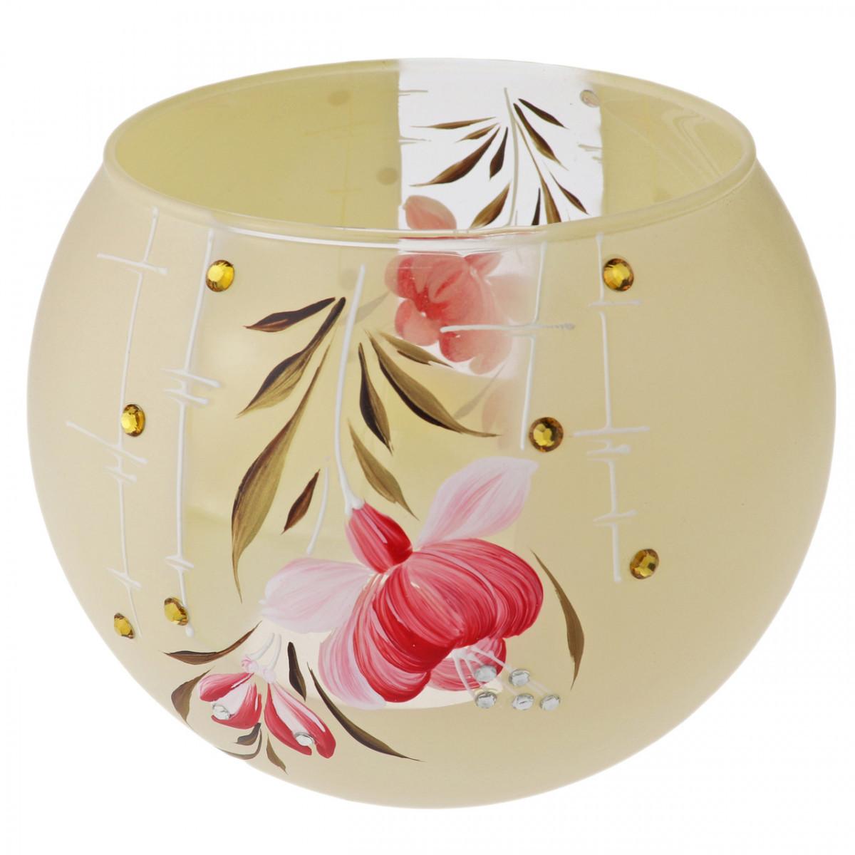 Ваза стеклянная ручной работы Красные цветы (Шарик большой) ZA-1199