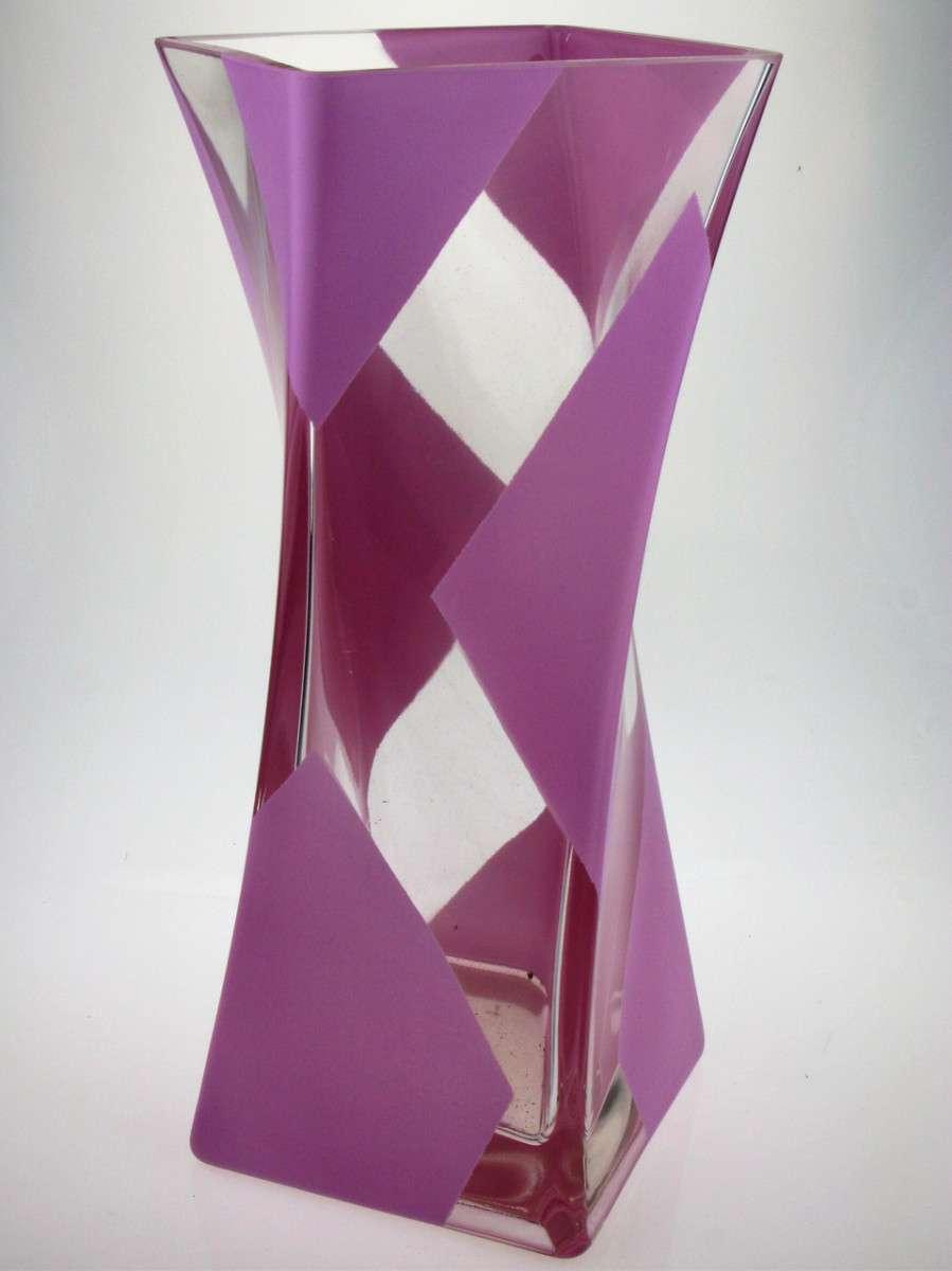 Ваза стеклянная ручной работы Розовый узор (Крученная) ZA-1067