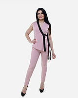 Костюм на запах. Розовый костюм. Брючный костюм.