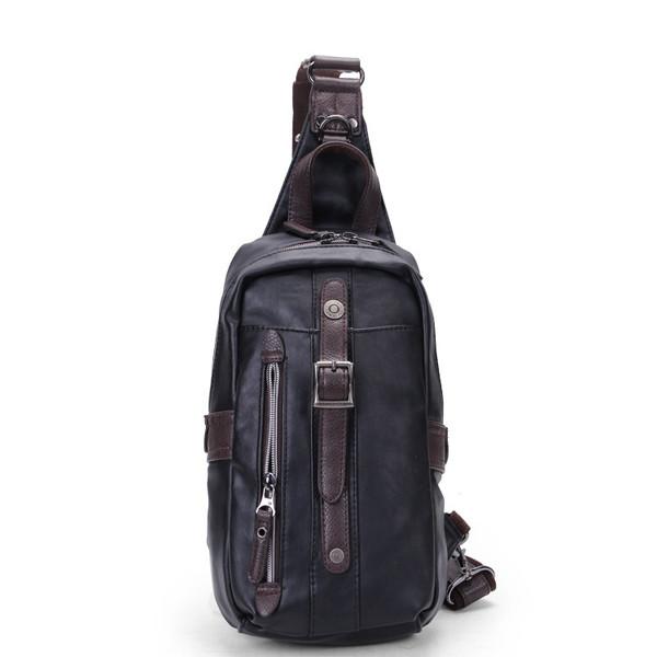 Мужчины PU Черный бизнес вскользь Открытый плеча Crossbody сумка - 1TopShop