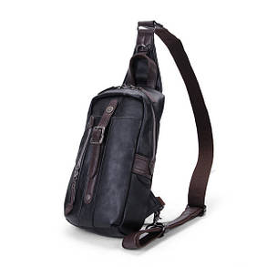 Мужчины PU Черный бизнес вскользь Открытый плеча Crossbody сумка - 1TopShop, фото 2