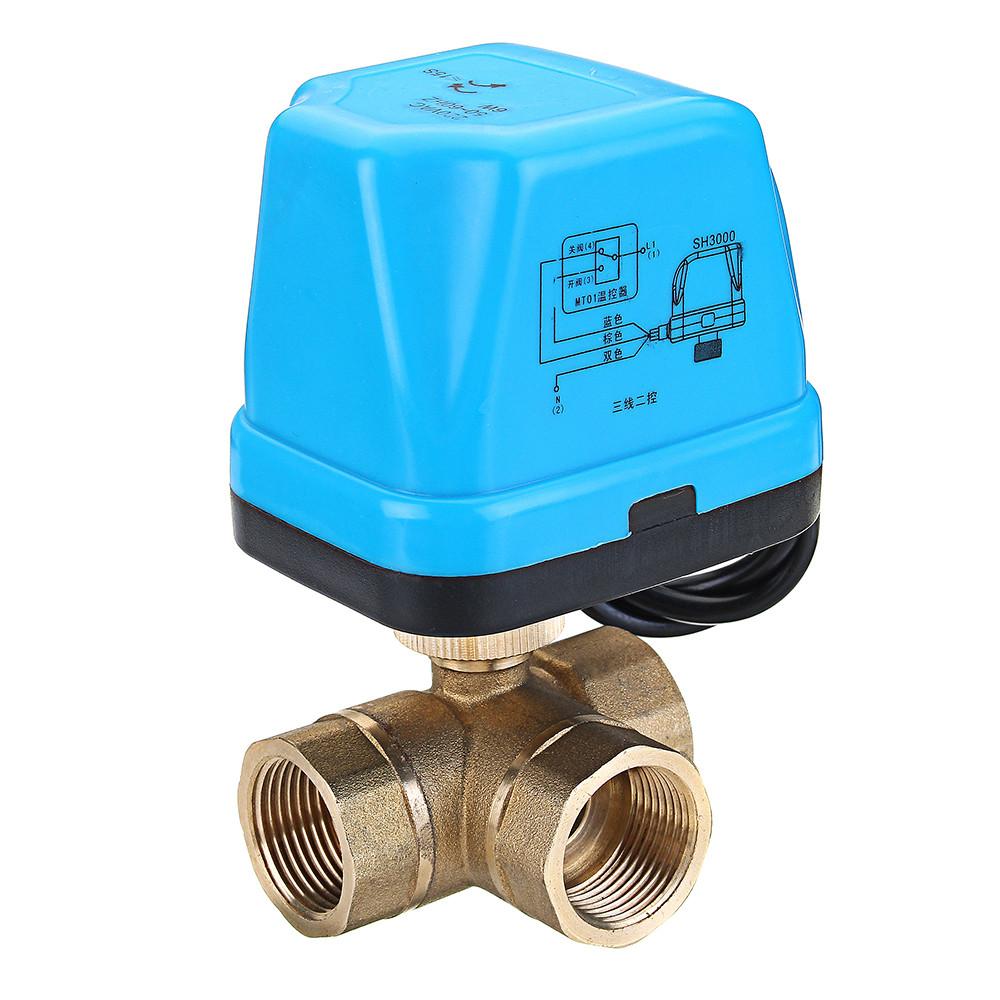 TMOK1/2 3/4 1 BlueShell 3-ходовой моторизованный электрический латунный шаровой клапан 3 Провод Полный порт переменного тока 220 В - 1TopShop