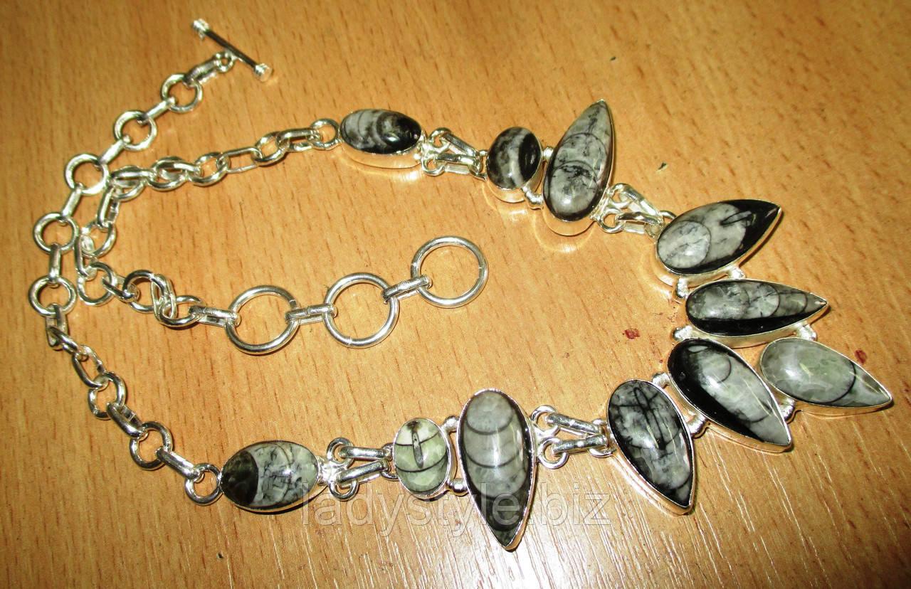 """Шикарное серебряное колье с ортоцерасом   """"Звуки моря"""" ,  от студии LadyStyle.Biz"""