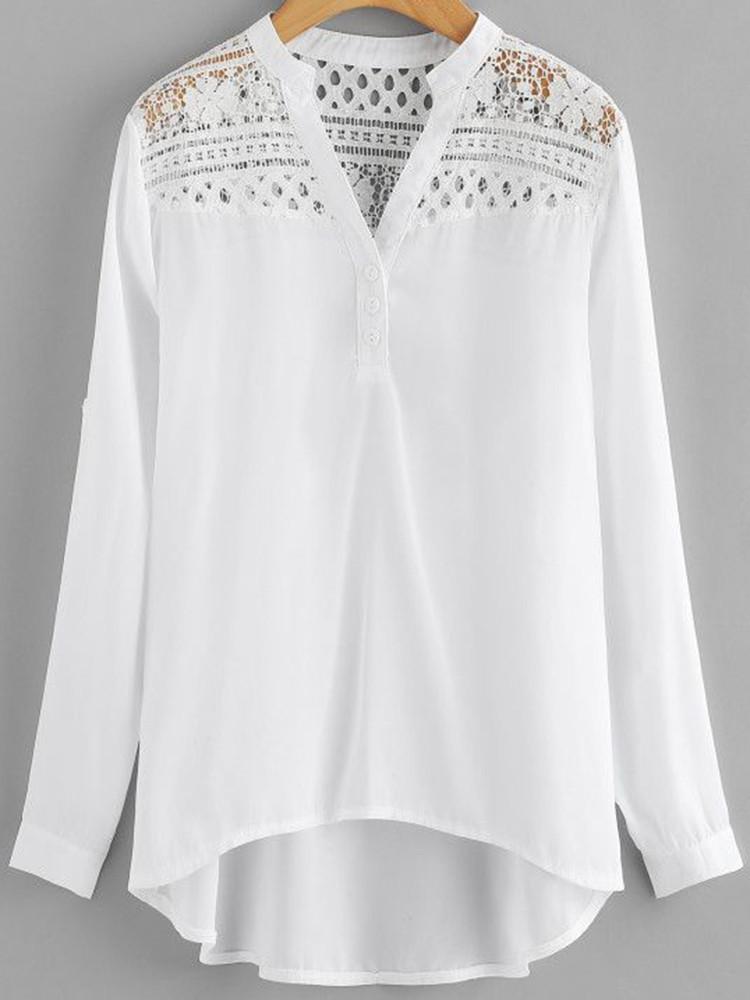 Женское Повседневная лоскутная шипованная шифонная блузка - 1TopShop