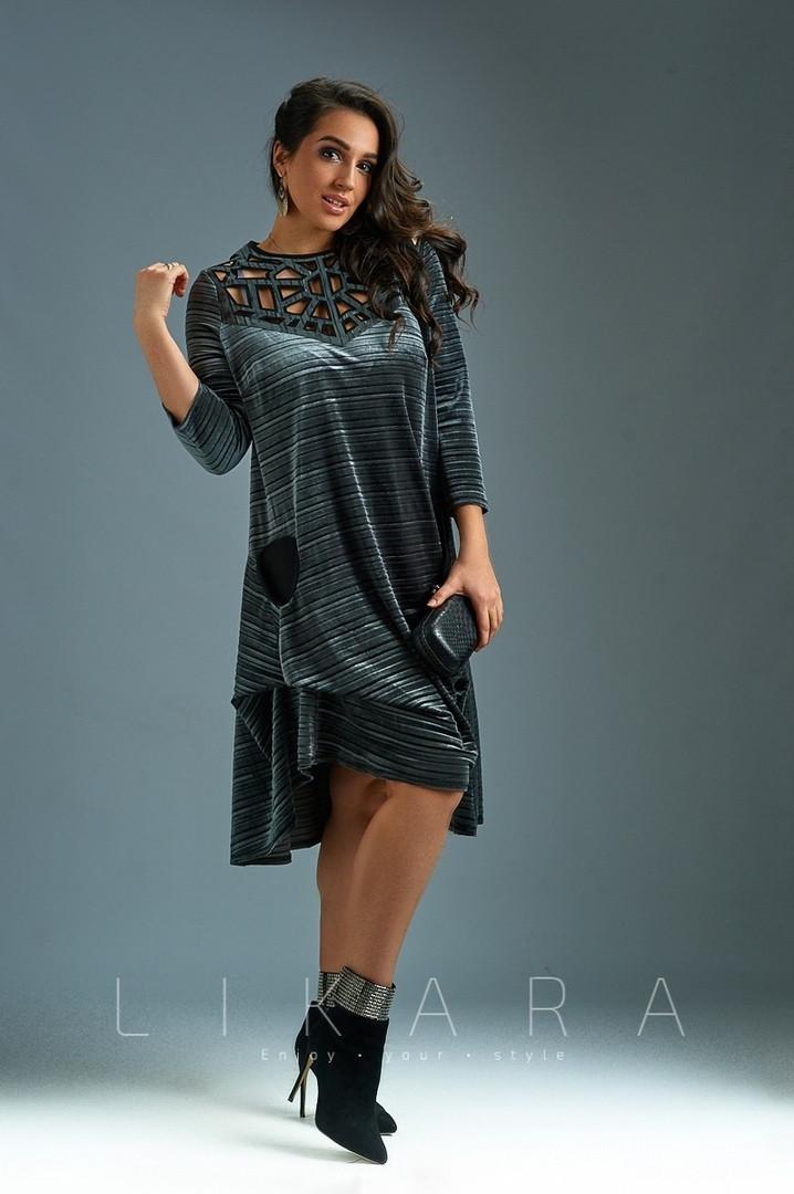 Женское батальное платье из бархата