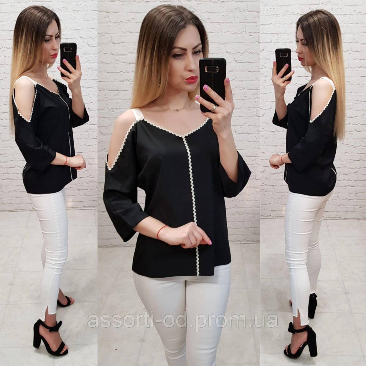 e7169e98a3332 Модная женская блуза! Цвет: черный, арт 0158, цена 330 грн., купить ...