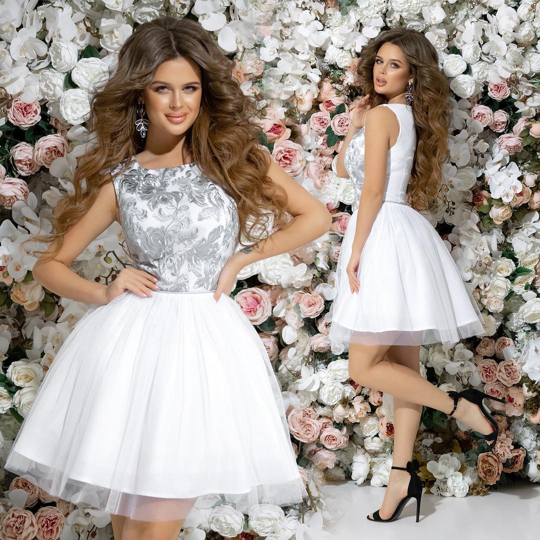 03709cd8057 Шикарное коктейльное платье 42 44 46 белое синее розовое персиковое зеленое  пудра