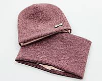 Комплект детский шапка и снуд Мила весна - осень, трикотаж тёплый