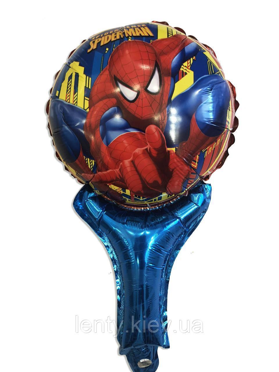 """Куля фольгований з ручкою фігура """"Людина павук"""" 50 див."""