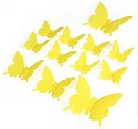 Виниловые 3Д бабочки для декора желтые, фото 1