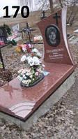 Ексклюзивний жіночий пам'ятник з червоного граніту та хрестик