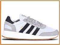 Мужские кроссовки Adidas Iniki Runner Boost Grey Black White (адидас иники, серые / черные / белые)