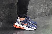 Кроссовки мужские Nike Air Max 270 React темно синие с оранжевым