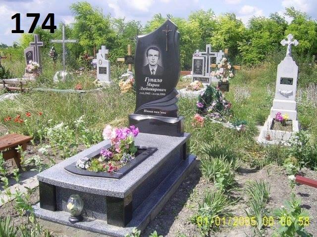 Елітний пам'ятник комплект з граніту сірого та чорного