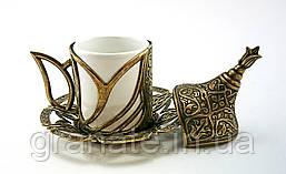 Турецкая чашка для кофе Демитассе 60 мл, цвет: бронза