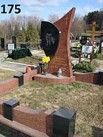 Елітний пам'ятник з огорожей із червоного граніту лізник з хрестом