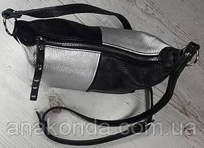 401-к Натуральная кожа Сумка женская кросс-боди кожаная черная серебро Сумка из натуральной кожи сумочка, фото 3