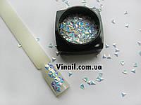 Декор для ногтей Starlet Professional треугольник (чешуя дракона) в баночке, цвет белый перламутр