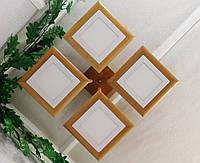Потолочный светильник из первосортного дерева, современный стиль, квадратная форма, на 4 led панели  по 12 Вт.