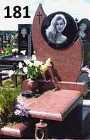 Елітний пам'ятник комплект для жінки з червоного граніту лізник закритим квітником