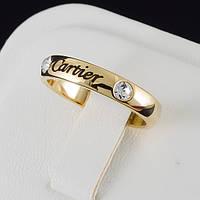 """Кольцо """"Cartier"""" с кристаллами Swarovski, покрытое золотом 0637"""