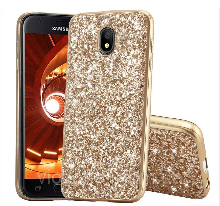 Чехол/Бампер блеск с кристаллами для Samsung J3 2017 (J330) Золотой (Силиконовый)