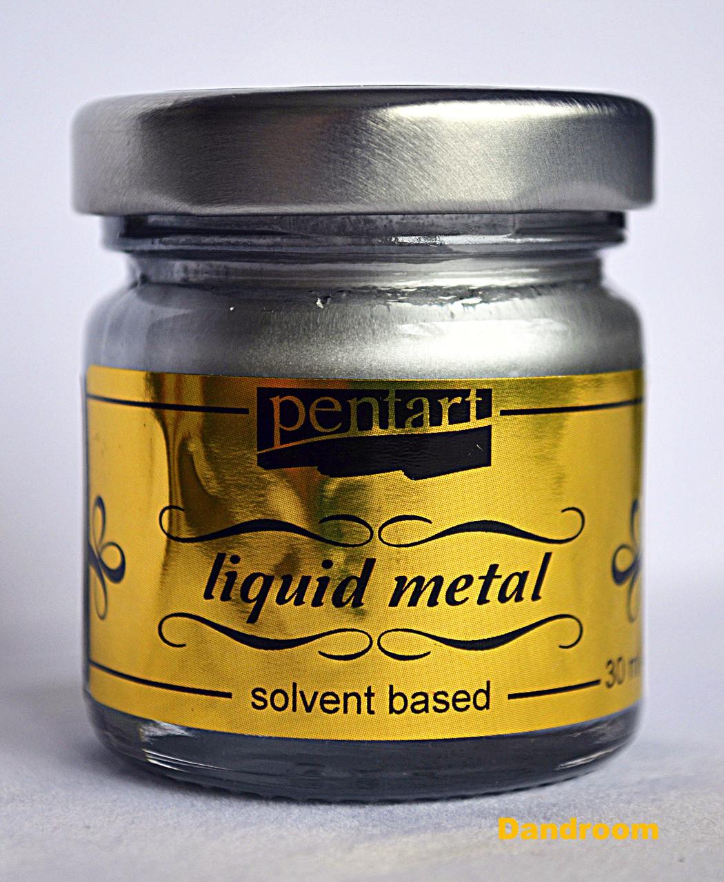 Фарба з ефектом рідкого металу, на основі розчинника, Срібло, 30мл, Pentart