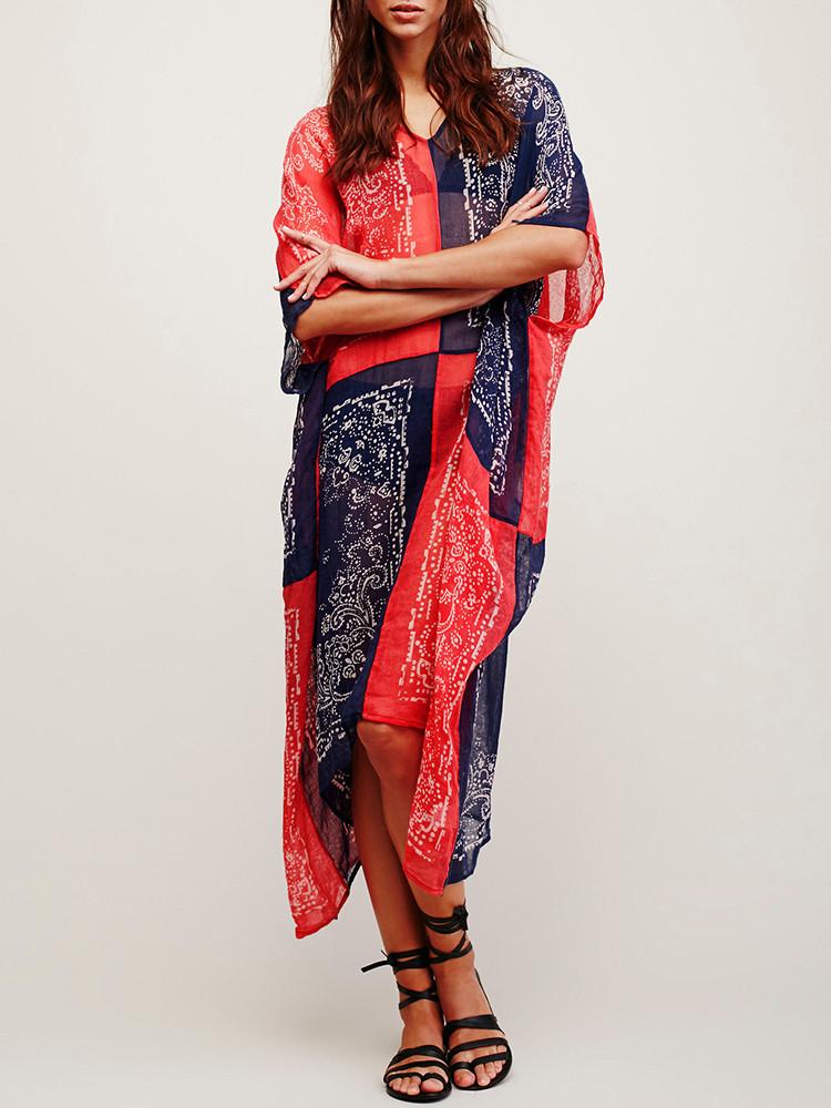 Женское Винтаж Бикини с V-образным вырезом в народном стиле Пляжный Платье - 1TopShop
