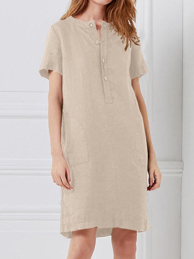 100% хлопок Женское Loose Linen Round Шея Кнопка с коротким рукавом Платье с карманом - 1TopShop