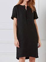 100% хлопок Женское Loose Linen Round Шея Кнопка с коротким рукавом Платье с карманом - 1TopShop, фото 3