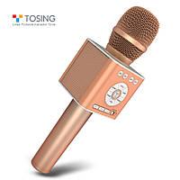 Микрофон караоке TOSING Q12 (TUXUN) Оригинал / Беспроводной, Портативный, Bluetooth Розовое золото / Rose Gold, фото 1