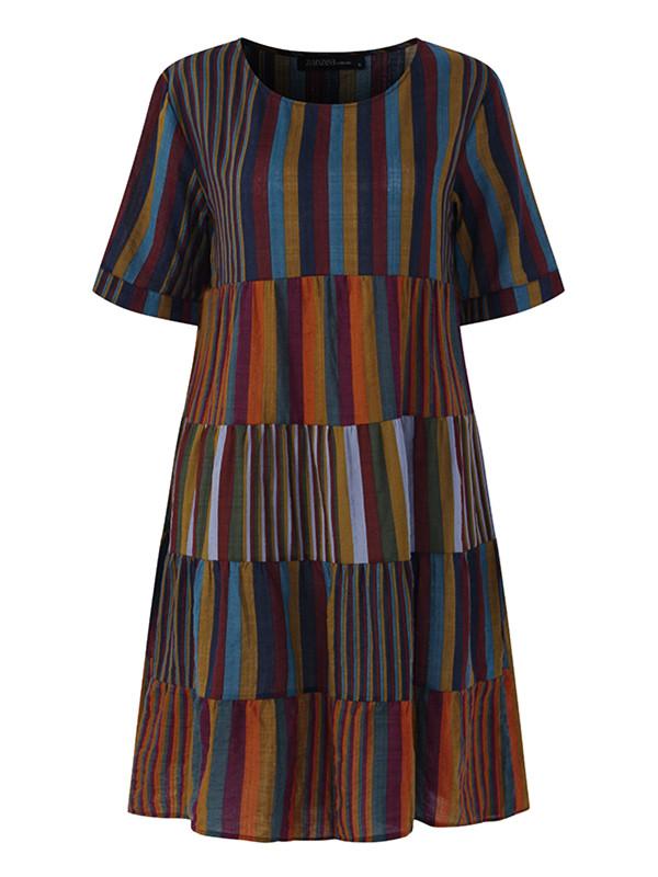 Женское Рубашка с коротким рукавом из хлопка Рубашка Платье - 1TopShop