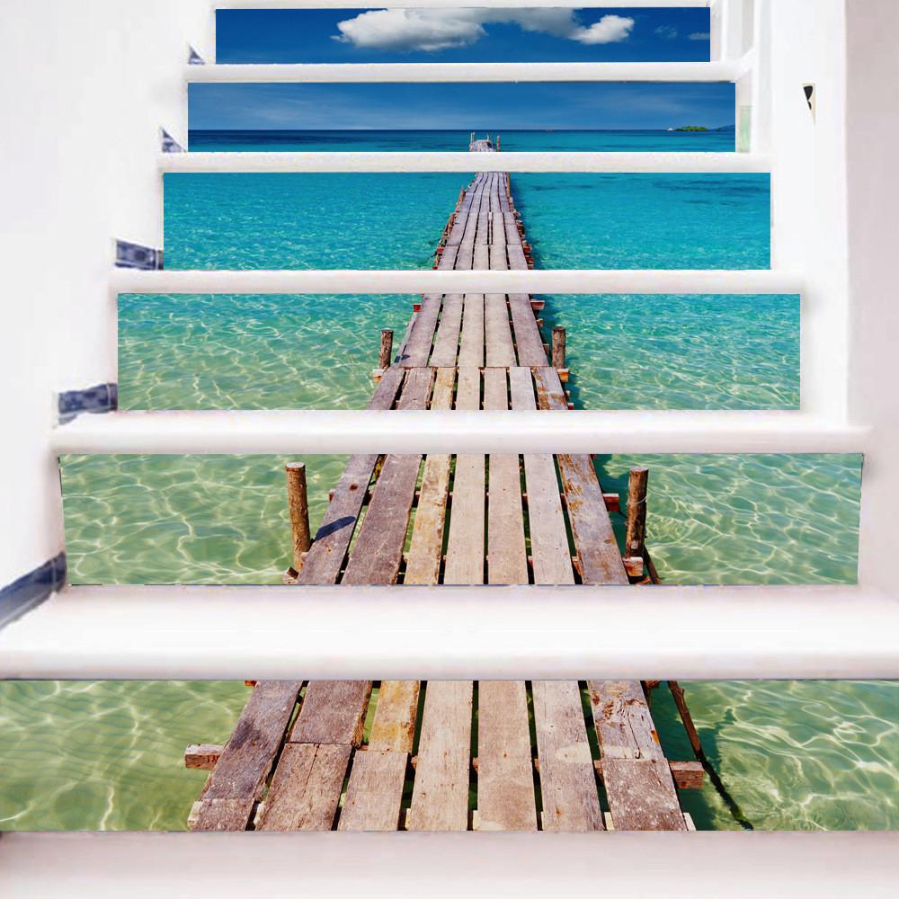 Miico6Pcs/наборТворческийПВХ Лестницы наклейки Главная Декор Mural Art Decor Наклейка - 1TopShop