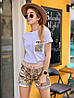 Костюм женский стильный с шортами пайетка и футболка Dol1438